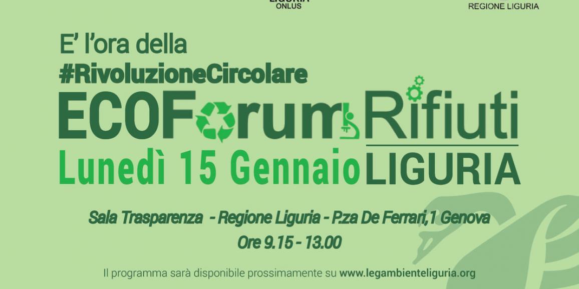 """</br> """"Ecoforum Rifiuti Legambiente Liguria"""" 15 gennaio 2018"""